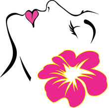 Spa Logo Of Woman Face With Hibiscus Flower Hawaiian