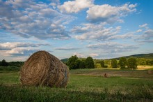 Country Farm Landscape With Freshly Rolled Hay On A Beautiful Summer Day