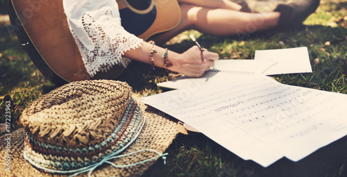 Hippie Musician Songwriter Writing Concept Wallpaper Mural