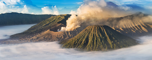 Mount Bromo, active volcano during sunrise.