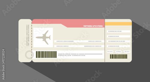 Fotografía  Vector illustration airplane ticket. Travel concept.