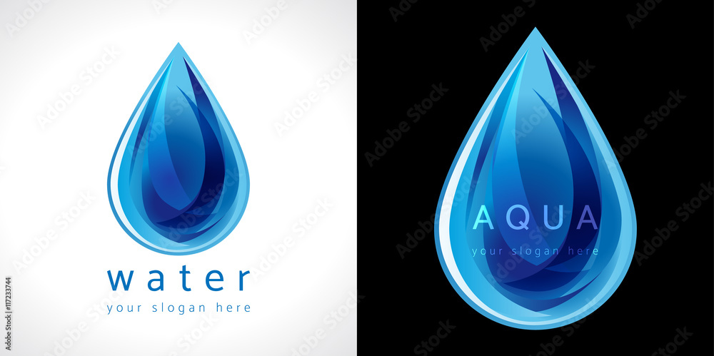 Fototapeta Water drop icon. The logotype for aqua protection or water delivery.