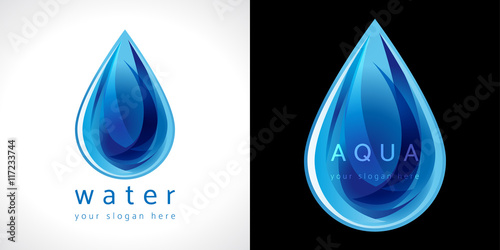Fototapeta Water drop icon. The logotype for aqua protection or water delivery. obraz