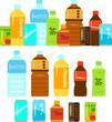 ペットボトル飲料と缶飲料のイラストセット