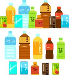 Fototapeta samoprzylepna ペットボトル飲料と缶飲料のイラストセット