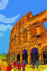 Fototapetagreat antique Rome - Coloseum , artwork in retro style