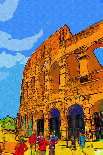 great antique Rome - Coloseum , artwork in retro style Wallpaper Mural