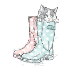 Cute Kitten Sitting In A Boot. Vector Illustration For A Card Or Print On Clothes. Charity Poster. Save The Homeless Animals.