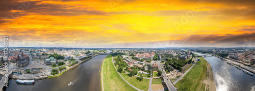 Panoramic 360 Degrees Aerial View Of Dresden Altstadt And Neust