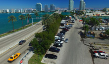 Aerial View Of MacArthur Causeway In Miami