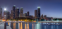Chicago Skyline At Night. View From The Navy Pier