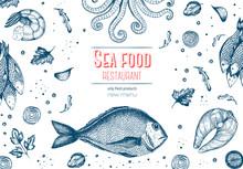 Vintage Sea Food Frame Vector Illustration. Hand Drawn With Ink. Vintage Design Template.