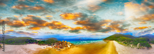 Vászonkép Squeaky Beach, Wilsons Promontory. Aerial panoramic sunset view