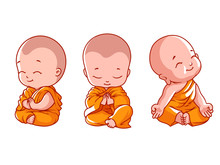 Set Of Little Meditating Monks.