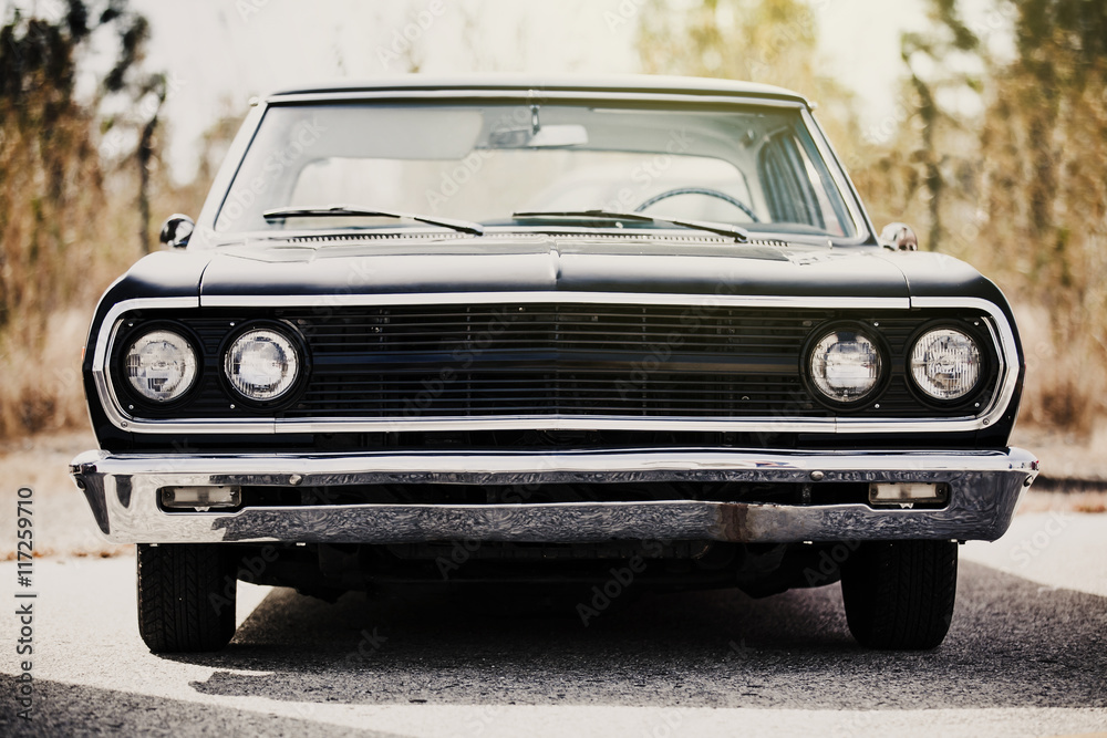 Fototapety, obrazy: Front view of classic american black car.