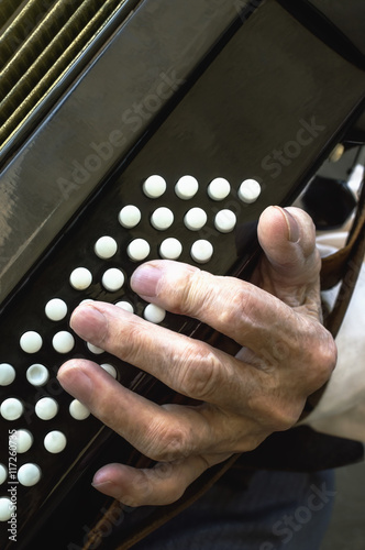 Fotografia, Obraz  Details of a hand on an old accordion while playing.