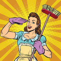 Naklejka Female cleaner cleaning company pop art retro