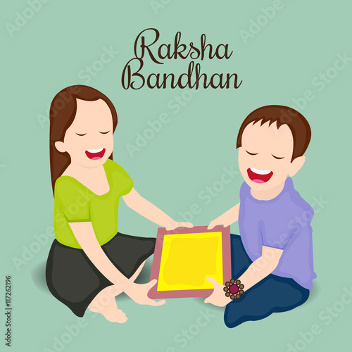 Fotografering  Happy Raksha Bandhan Indian festival background .