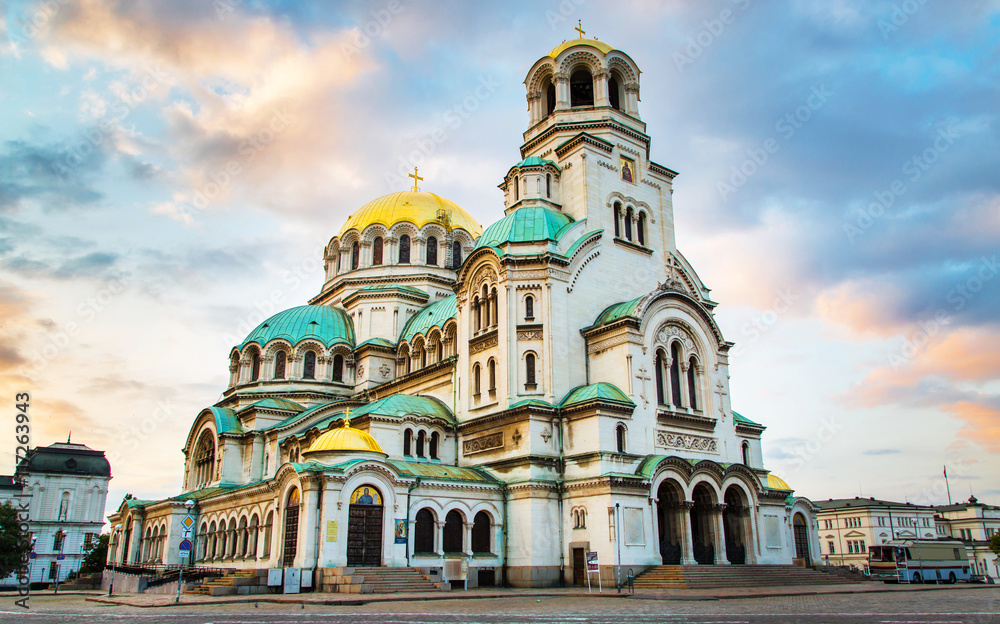 Fototapety, obrazy: St. Alexander Nevsky Cathedral in the center of Sofia, capital of Bulgaria against the blue morning sky with colorful clouds