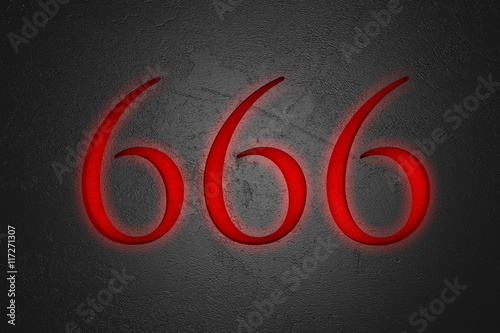 Fototapeta  Engraved number 666 on stone background, 3d illustration