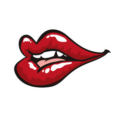 Pop art concept represented by female mouth icon. Isolated and flat illustration