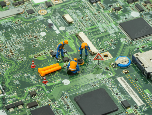 technician team brainstrom for fix issue of screw on mainboard - can use to display or montage on product