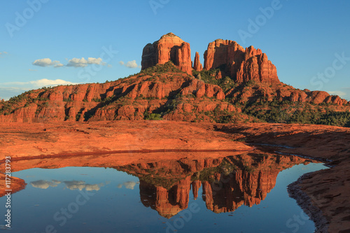 Photo Stands Brick Cathedral Rock Reflection Sedona Arizona