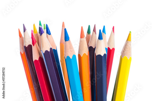 Colored pencils isolated on a white background closeup Wallpaper Mural