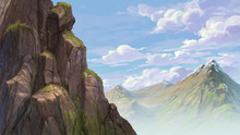 Rock And Far Mountain Background Illustration