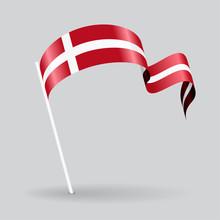 Danish Wavy Flag. Vector Illus...