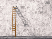 Ladder Leaning On Cement Wall