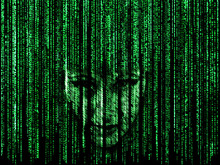 Woman Face In Green Matrix Background, Computer Code With Symbols And Characters.