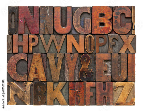 Juliste  antique lettepress wood type alphabet