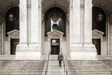 Girl In Front Of New York City Public Library