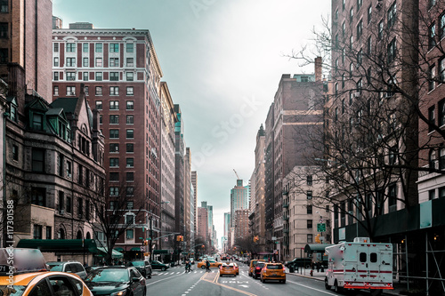 Photo sur Toile New York TAXI Buildings and streets of Upper West Site of Manhattan, New York