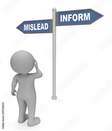 Fotografija  Mislead Inform Sign Indicates Advice Deceive And Enlighten 3d Re