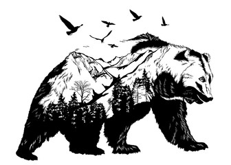 Fototapeta na wymiar Hand drawn bear for your design, wildlife concept