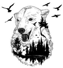Panel Szklany Góry Hand drawn bear portrait for your design, wildlife concept