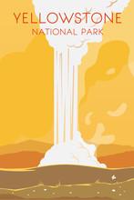 Yellowstone. Vector Poster.