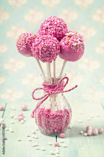 Pink cake pops Canvas Print