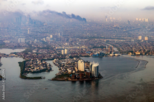 Aerial view of Jakarta, the capital of Indonesia. Air pollution