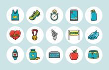 Marathon And Running Icons Set,eps10
