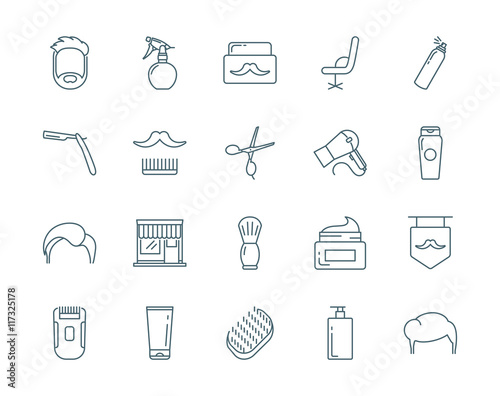 Barber vector icons set modern line style Poster