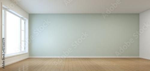 Fotografia  Empty room with window in modern house - 3D rendering
