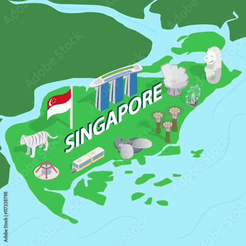 Singapore map in isometric 3d style Poster