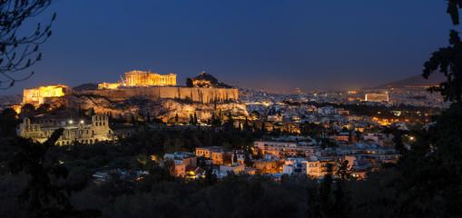 Atena s Akropolom u sumrak