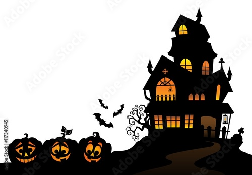 Door stickers For Kids Haunted house silhouette theme image 4