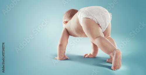 Fotografiet  Baby. Newborn in the diaper. Isolated