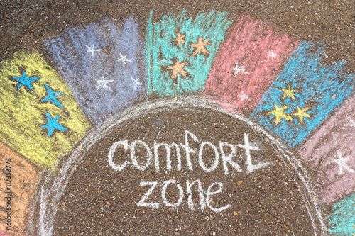 Cuadros en Lienzo Comfort zone concept. Comfort zone circle surrounded by rainbow