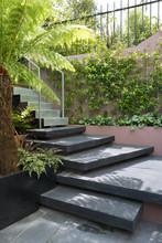 Slate Slab Steps In A Small Garden